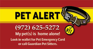 pet emergency alert key ring for clients of Guardian Pet Sitters in The Colony, Texas